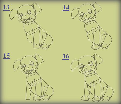 كيفية رسم كلب كرتون للتلوين